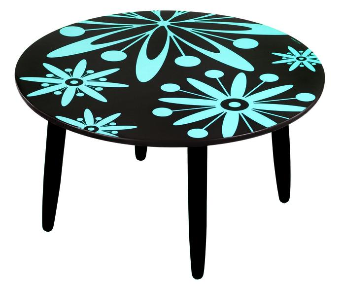 table basse ronde fleurs bleues objet d co d co. Black Bedroom Furniture Sets. Home Design Ideas