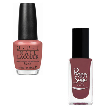 "Vernis à ongles rose doux Gouda Gouda Two Shoes"" d'OPI (collection Holland) 11,90 euros - ""Vintage Rose"" de Peggy Sage (collection Vintage) 6,90 €"