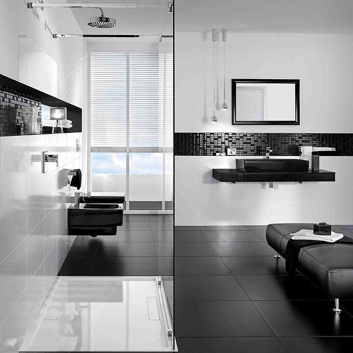 glamour la salle de bain en noir et blanc de villeroy boch tendances d co d co. Black Bedroom Furniture Sets. Home Design Ideas