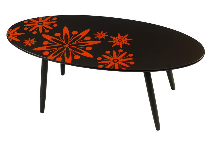table basse ovale fleurs oranges objet d co d co. Black Bedroom Furniture Sets. Home Design Ideas