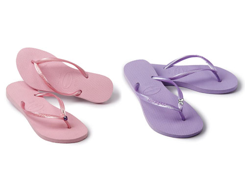 Montages tongs rose & violet