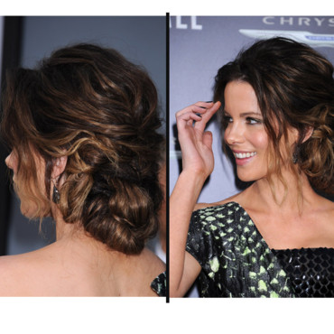 Kate Beckinsale et son chignon flou