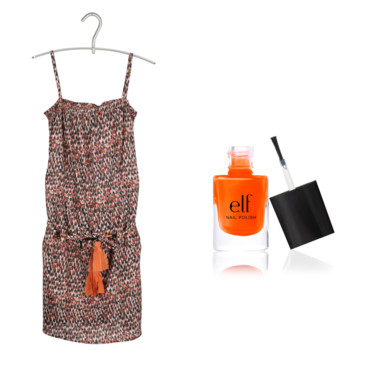 Robe imprimée Chipie et vernis orange ELF