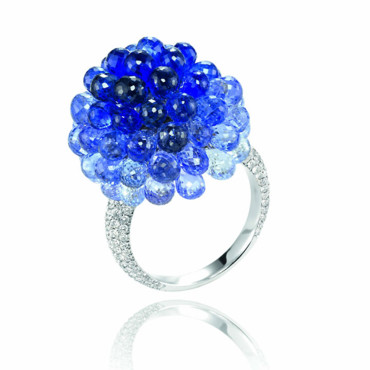 Bague Capacabana Chopard - 182 diamants 36.11 carats, saphiris bleus - 18 740 €