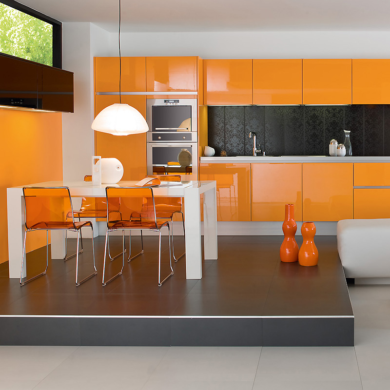 Decoration cuisine couleur orange for Cuisine orange