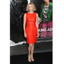 Charlize Theron leather orange dress