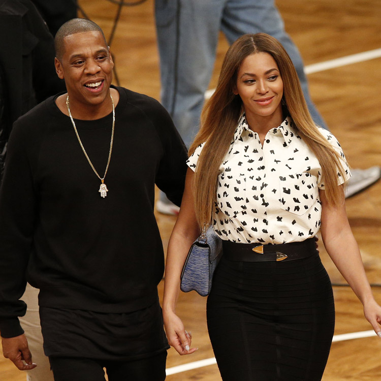 Beyoncé et Jay-Z lors du match NBA Brooklyn Vs Cleveland le 8 décembre 2014 à NEw York