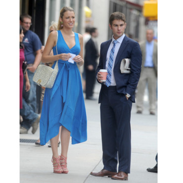 Blake Lively et Chace Crawford sur le tournage de Gossip Girl