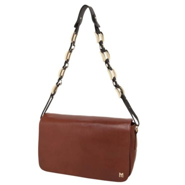 Besace rectangulaire en cuir marron MySuelly