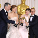 Daniel Day Lewis, Jennifer Lawrence, Anne Hathaway et Christoph Waltz oscariss le 24 fvrier 2013  Los Angeles.