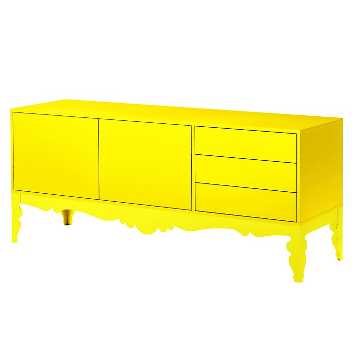 tendance une d co pop et design buffet bas jaune. Black Bedroom Furniture Sets. Home Design Ideas