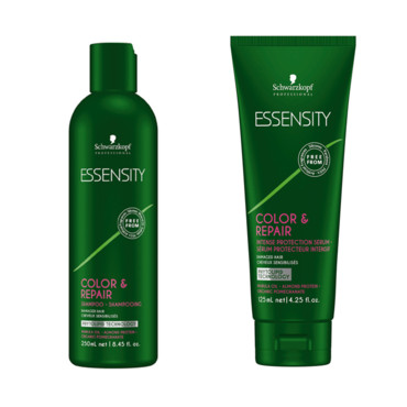Gamme Essensity Color & Repair Schwarzkopf composé d'un sérum protection intense (25,60 euros et d'un shampooing (15,05 euros)