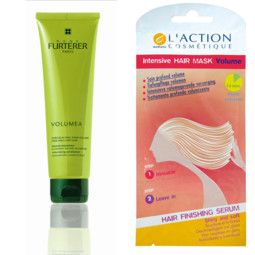 Baume Volumea-René Furterer. Tube 150 ml. 14,90 €. Intensive Hair mask Volume-L'Action cosmétique. Unidose de 15 ml vendue avec son sérum. 2,50 €