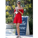 Alessandra Ambrosio robe rouge los angeles octobre 2013