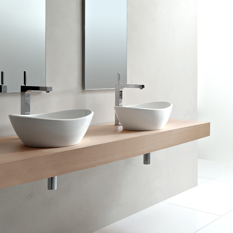D co salle de bain pour ou contre la double vasque for Table de toilette acrylique ikea