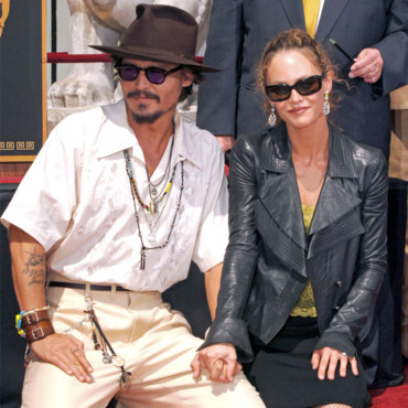Johnny Depp Vanessa Paradis sur le Walk of fame en 2005