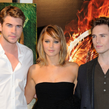 Jennifer Lawrence, Liam Hemsworth, Sam Claflin, présentent Hunger Games 2 à Cannes, le 18 mai 2013.