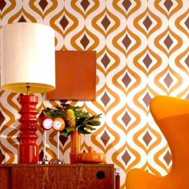 Papier peint orange kitsch par Graham & Brown