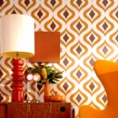 Papier peint orange kitsch par Graham &amp; Brown