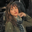 Dakota Johnson sur le tournage de Fifty Shades of Grey en décembre 2013