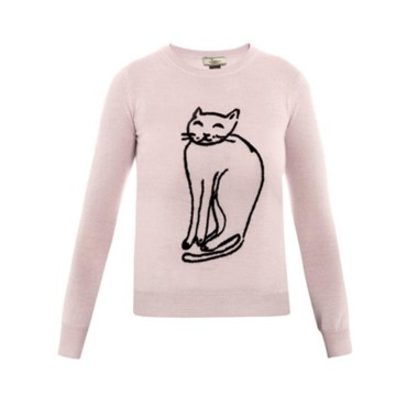 Pull rose imprimé chat Issa sur Matches Fashion.com, 312 euros