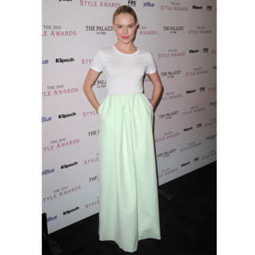 Kate Bosworth en jupe longue pastel Jil Sander