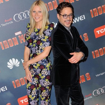 Gwyneth Paltrow et Robert Downey Jr à la 1ere parisienne d'Iron Man 3, le 14 avril 2013.