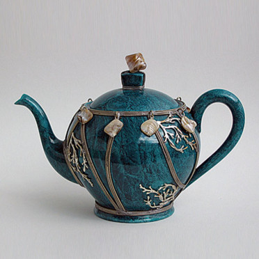 Thire Outremer Martine Goron - Objet Dco - Dco :  art teapot style teal
