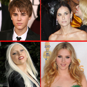 Montage Les scandales Justin Bieber Lady Gaga Demi Moore Scarlett Johannsson
