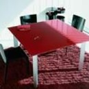 Hodema - Table cristal rouge