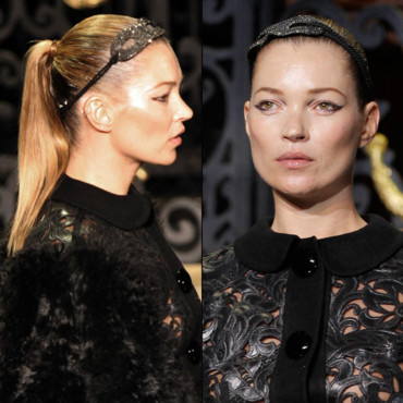 Kate Moss au défilé Marc Jacobs pour Louis Vuitton à la Fashion Week Paris
