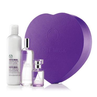 Coffret Noël 2013 coeur White Musk Smoky Rose The Body Shop 45 euros