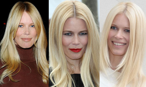 montage Claudia Schiffer brushing blond