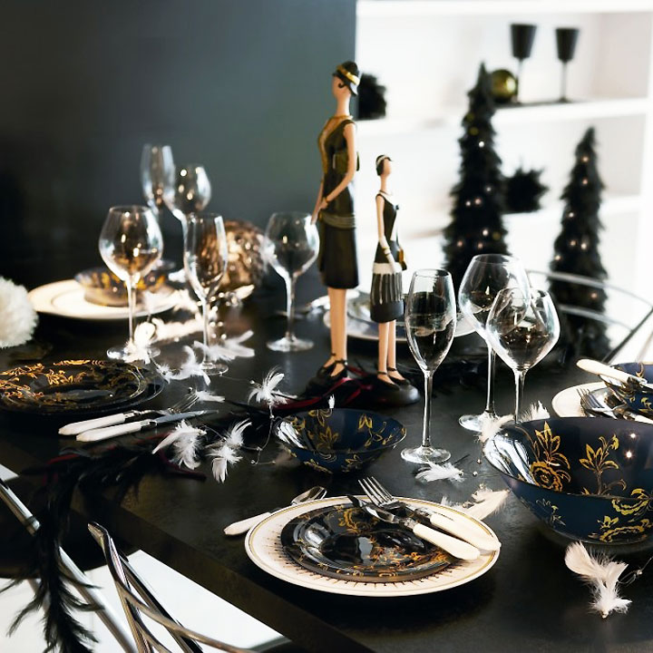 Black And White Christmas Table Decorations Photograph Amb