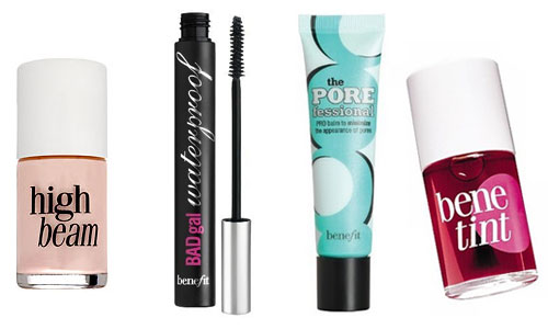 Montage maquillage Benefit pour Blanche Neige et le Chasseur Benetint, mascara BadGal, The Porefessional, High Beam