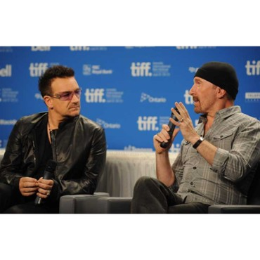 Bono et The Edge à la conférence de presse du documentaire sur U2 : From the Sky Down