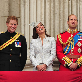 Le prince Harry, Kate Middleton et le prince William à l'anniversaire de la Reine Elizabeth II le 14 juin 2014