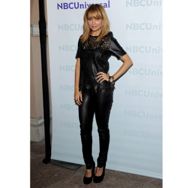 Nicole Richie en top en cuir Winter Kate