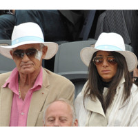 Photo : Jean-Paul Belmondo et son ami Barbara Gandolfi à Roland Garros