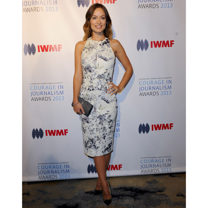 Olivia Wilde en Cushnie et Ochs à Los Angeles pour les IWMF Courage in journalism Awards le 29 octobre 2013