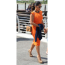 Salma Hayek en robe orange Gucci