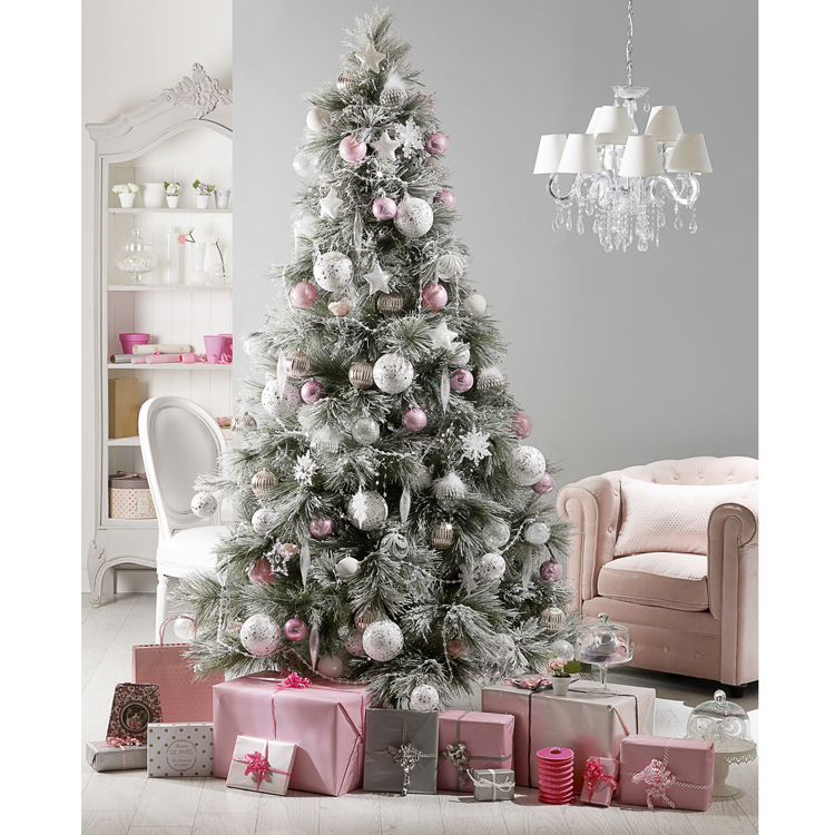 no l 2014 15 sapins de no l pour trouver l 39 inspiration d co le sapin rose neige d co. Black Bedroom Furniture Sets. Home Design Ideas
