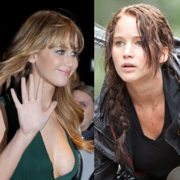 Jennifer Lawrence blonde en promo et brune pour Hunger Games montage