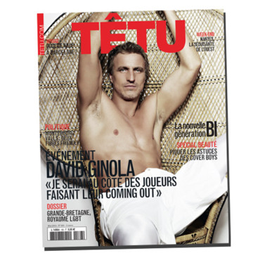 David Ginola en couverture de Têtu