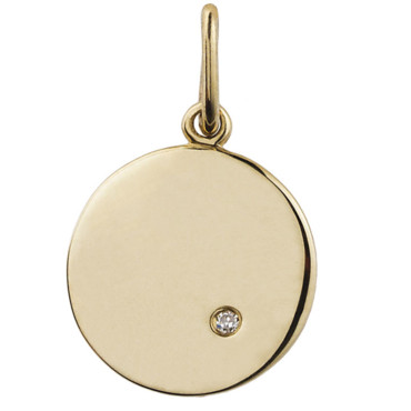 Collier or jaune rond et diamant